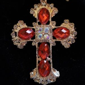 Jewelry - New Gold tone, huge Red Crystal Cross